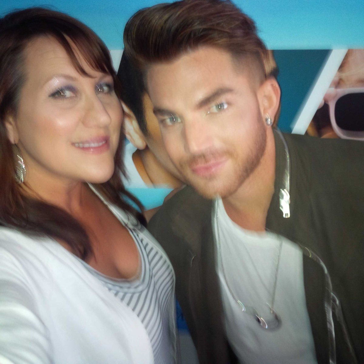 Yeah!!! Cutie @adamlambert stopped by to share his new fun single #GhostTown :) #workit #Idolhottie :) @1043myfm http://t.co/GMPHnwuH35