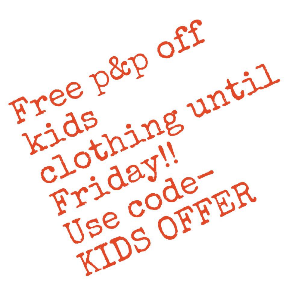 Free P&P on kids clothing until Friday UK ONLY http://t.co/zW7p3Os21N RT XX http://t.co/vNIIxcJrc5