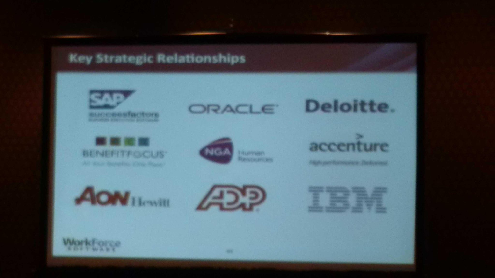 RT @holgermu: .@WorkforceSW has a large partner ecosystem @SAP @Oracle @Deloitte @Benefitfocus @NGAHR @IBM @ADP #VisionWFS http://t.co/wwklqPO0Sy