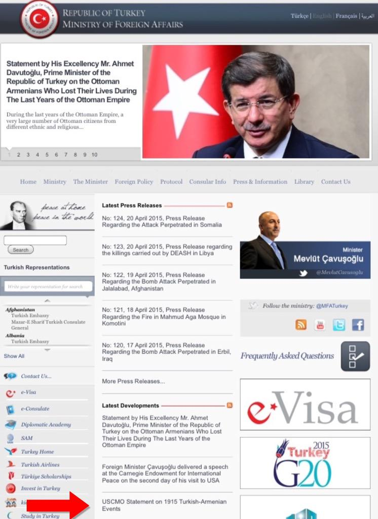 Turkish foreign ministry website proudly sharing #USCMO Statement denying the #ArmenianGenocide. http://t.co/d51oFkbSHy