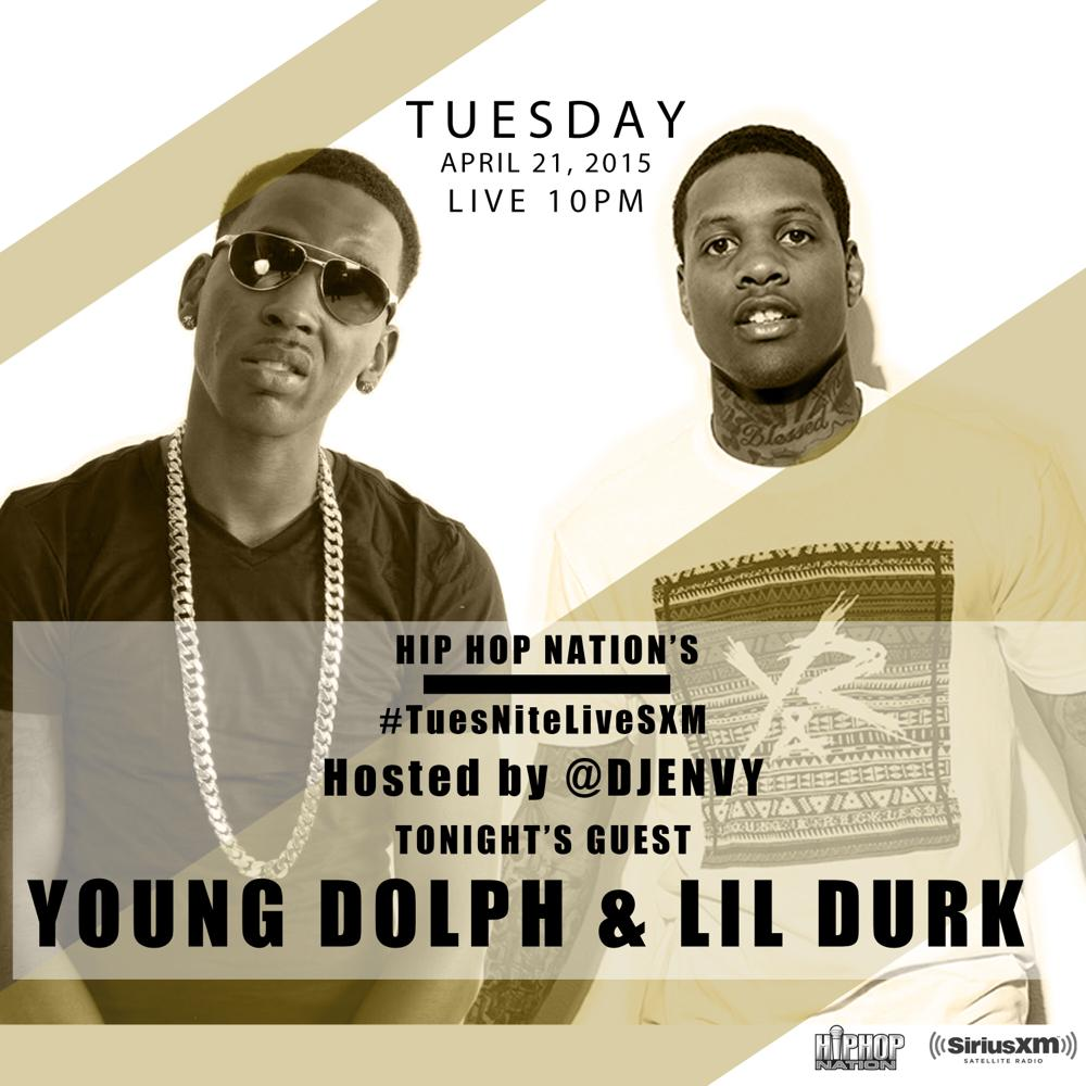 Hip Hop Nation (@HipHopNation): Hosted by @djenvy  Who's going to be listening? Don't want to miss out !  @YoungDolph @lildurk_   #TuesNiteliveSXM http://t.co/Q7lE9DEcse