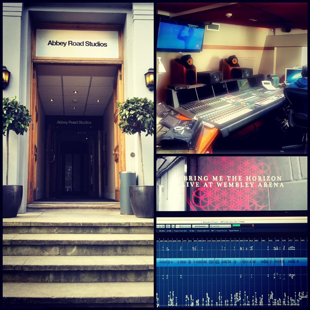 Today I am at Abbey Road Studios to finish the @bmthofficial Live at Wembley DVD 5.1 mix. Then it's done! http://t.co/KtBzkD48JC