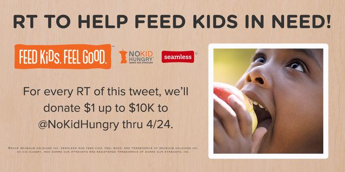 For every RT of this tweet, we'll donate $1 up to $10K to @NoKidHungry thru 4/24. Help feed kids in need! http://t.co/Med14LIQXL