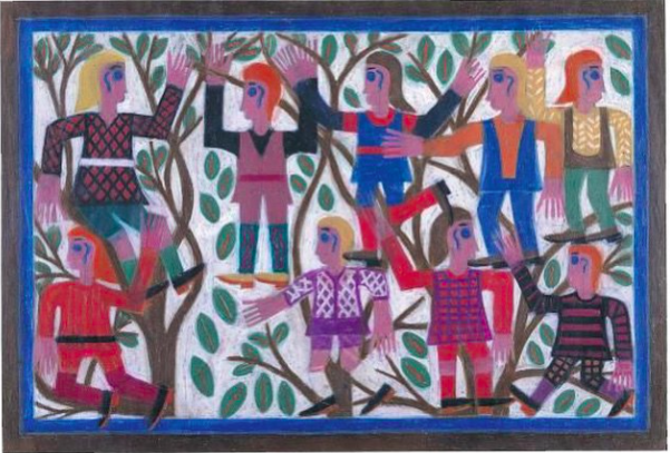 """Happy Earth Day from the American Folk Art Museum! Image: """"Nine Figures Climbing Trees"""" (1972) by Eddie Arning http://t.co/iSZnhuyiGu"""