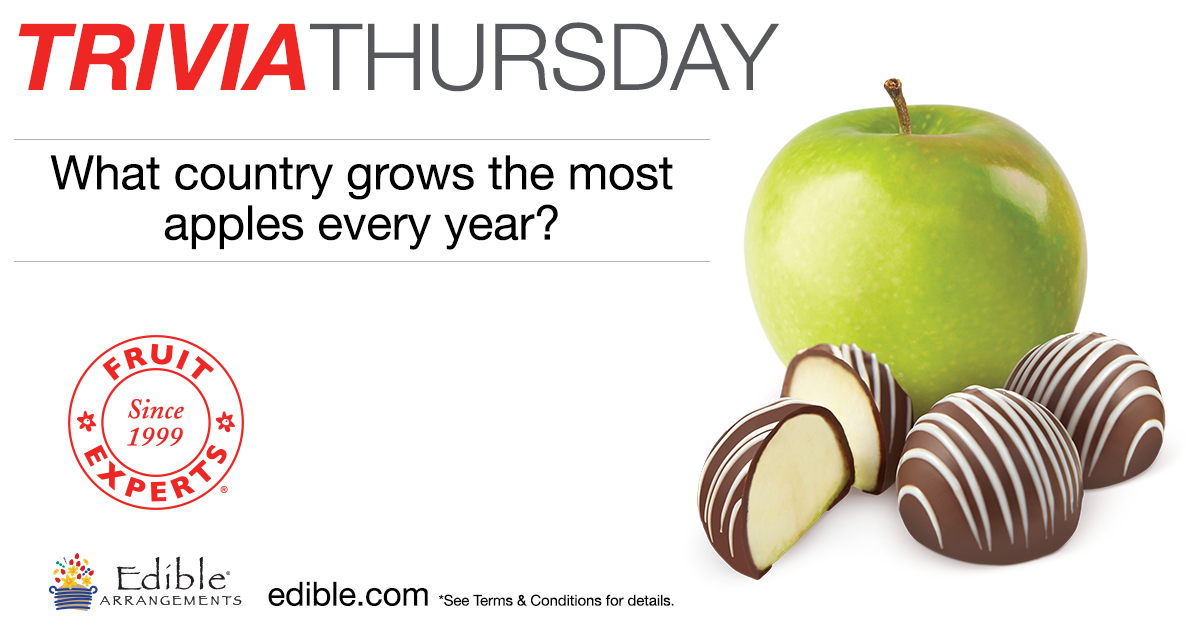 Happy Day! It's #TriviaThursday! Answer correctly and be entered to win a box of Dipped Fruit™! http://t.co/pRmTfZIb2f