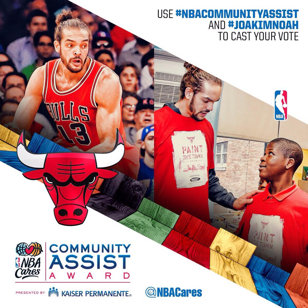 My friend #JoakimNoah has done amazing work this year! He deserves the #NBAComunityassist Award. Please RT 4 Votes! http://t.co/KrFGkso9oR