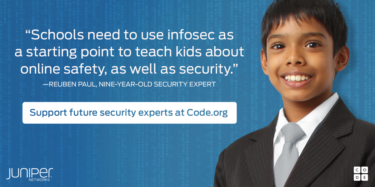 Join #Juniper & @RAPst4r in empowering the next gen. of #cybersecurity & donate to @codeorg: http://t.co/rzhl6LGuZV http://t.co/DijbXjsHwG