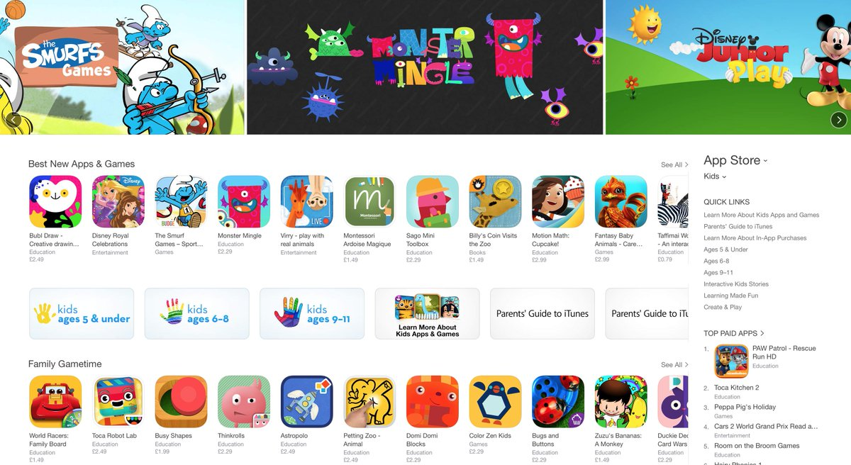 I love that a 1 man indie developer can get a banner sat between Smurfs and Disney #kidsapps #indiedev #madewithunity http://t.co/JssK6ZLSeo