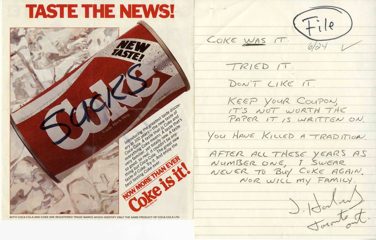 Curious what people wrote to @CocaCola when we introduced New Coke? Some of the letters! ^TR http://t.co/TDridW41yV http://t.co/11ALyOVxCL