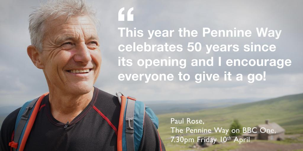 50 yrs old. Today! Not me - the Pennine Way :-) Tonight at 7:30 BBC1. @bbcgetinspired @BBCNorthPR #pennineway http://t.co/YEtTRN1voq