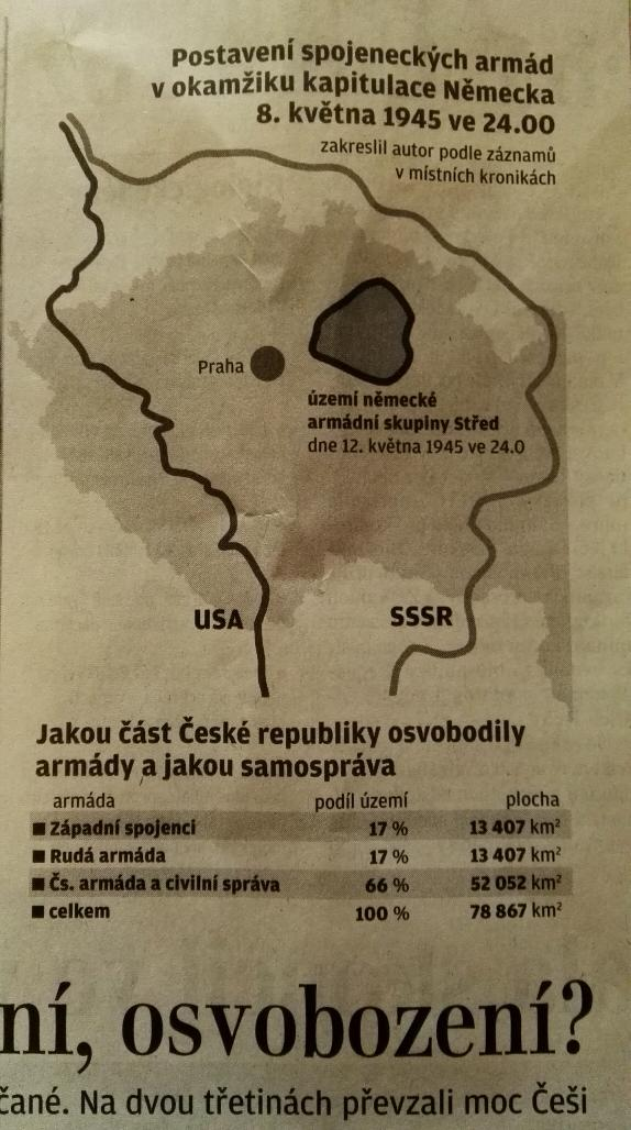 Takový ten mýtus, že rusové tehdy osvobodili většinu Česka... bylo to jen 17 % území (bohužel včetně Brna). http://t.co/8trAxu9DfB