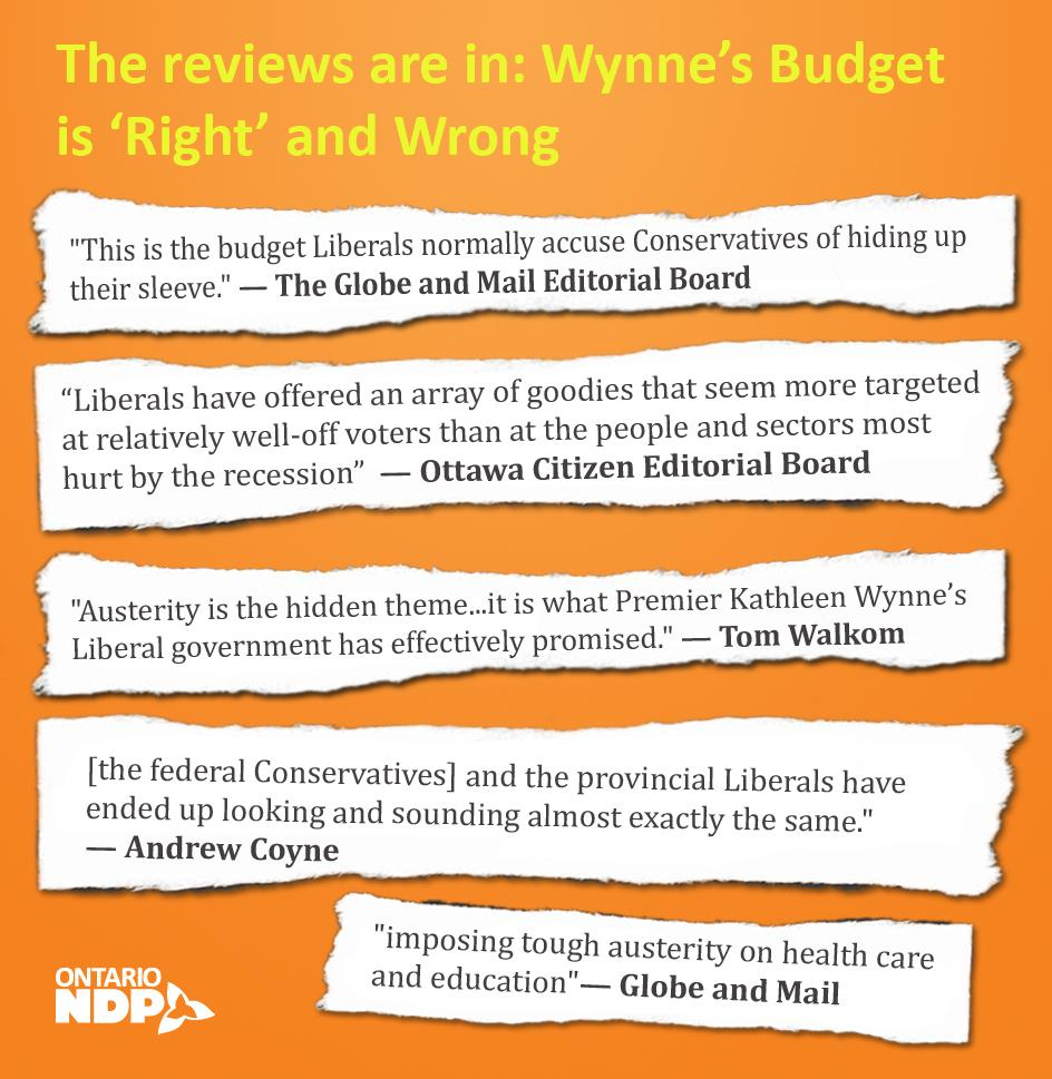 The reviews are in: Wynne's budget promises deep, painful cuts to healthcare, education and social services. #onpoli http://t.co/xfWWdKzsV1