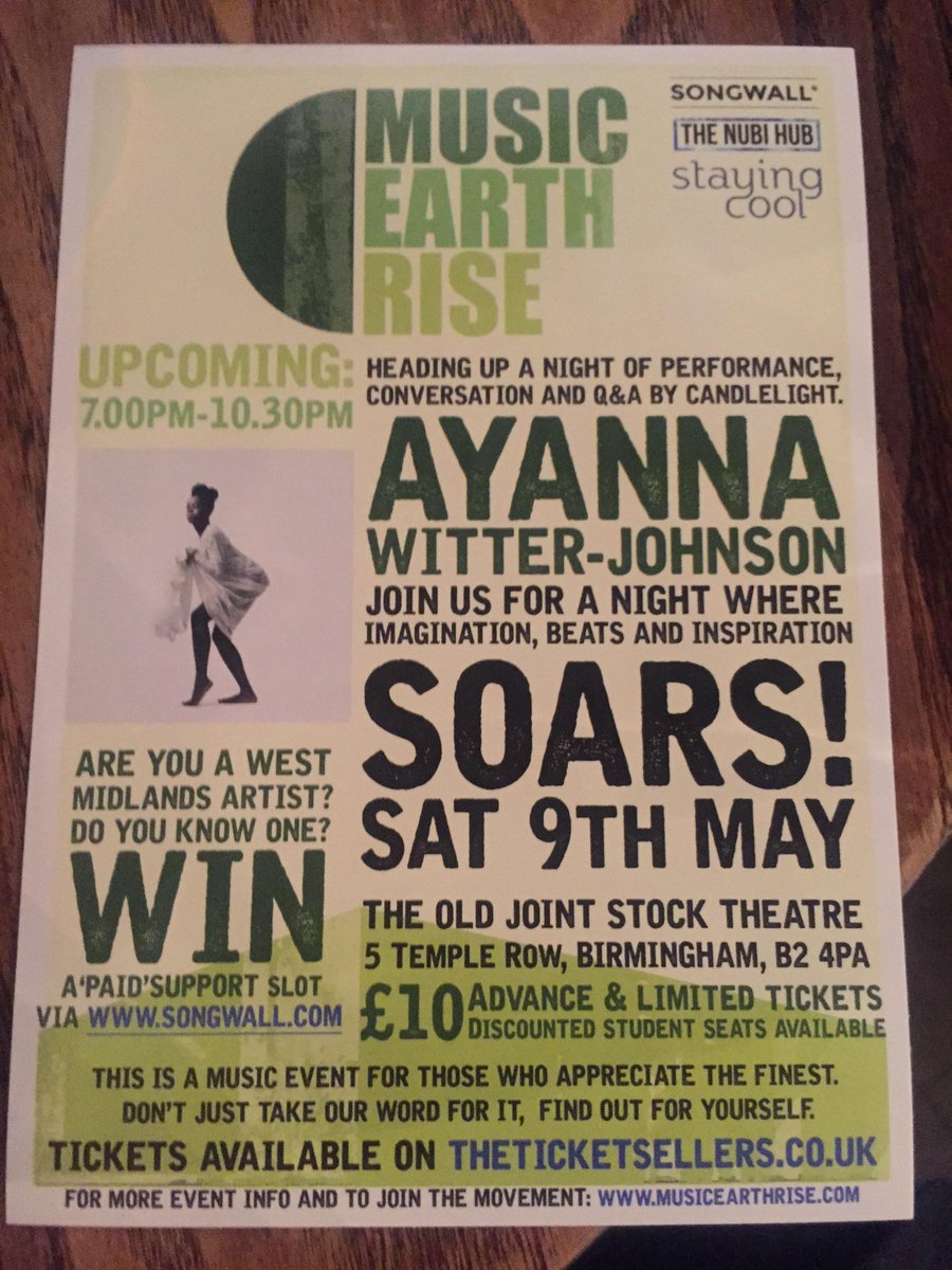 Any plans for Saturday 9th May in #Birmingham? Head down to @MusicEarthRise 's latest event @OldJointStock! http://t.co/V8KwSgORcZ