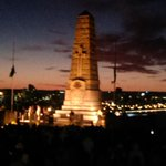 The catafalque party guards the memorial as the sun rises in the east. #kingspark http://t.co/tLsKL1JOMM