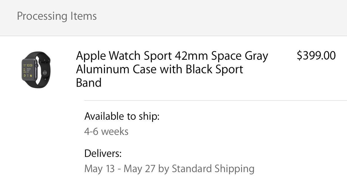 42mm Space Grey Apple Watch Sports Edition 2:05AM CST May 13-27 Ship Date C'mon Apple!  RT if in same boat http://t.co/xTbGbZ2tZT