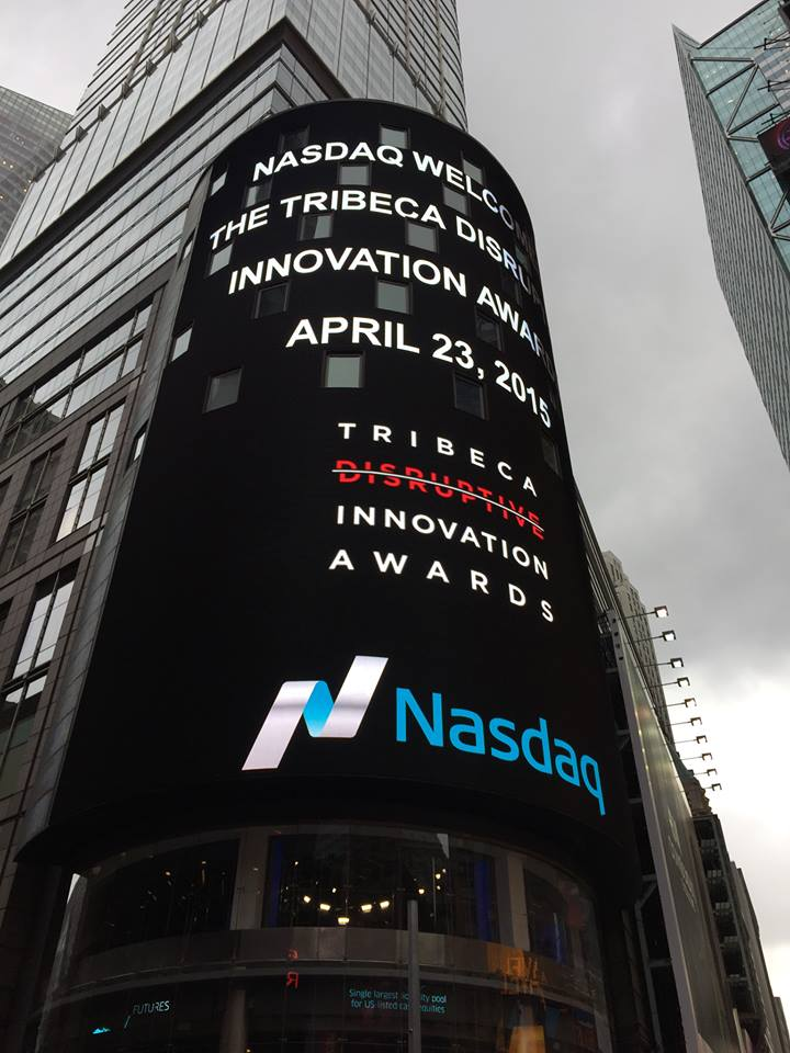 Exciting @TFFDisruptive @TribecaFilmFest Tribeca Disruption Innovation Awards lights up Time Square @NASDAQ #TDIA2015 http://t.co/6wd4WNKIzq