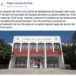 Este lunes 27 de abril los tribunales de Copiapó atenderán al público desde las 10:00 y hasta las 13:00 horas. http://t.co/AJH36KXT2R