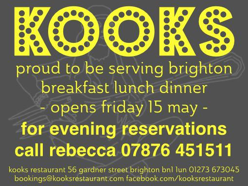 we are taking bookings at my new restaurant from 15 May - in time for brighton's great escape music festival http://t.co/qoCtEdu7ue