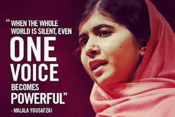 """When the whole world is silent, even one voice becomes powerful"" #Malala #quote #Friday  #inspiration http://t.co/vtiFtLHwJV"
