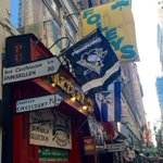 Theres a brand new #Pens flag here at @FoleysNY. And some swag being sold to benefit @MarioLemieuxFdn! http://t.co/9iEFNIYWjD