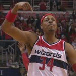 Paul Pierce = Clutch! The Truth knocks down HUGE 3-pt FG to seal victory vs Raptors as Wizards take 3-0 series lead. http://t.co/frlmu3YpE1