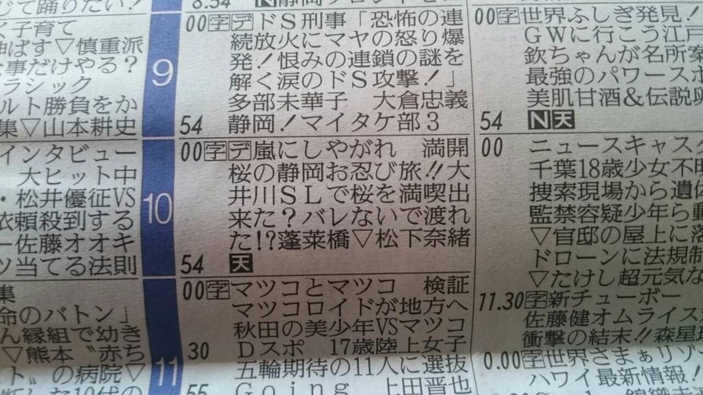 今朝の新聞の嵐にしやがれの欄は、静岡のスタッフの気持ちが溢れてすぎてるワンな...みんなわかったかワン?たて読みしてワーーーン♪ヽ(´▽`)/ バレなかったか気になるワンなー! #嵐 #櫻井翔 #あらしっく #静岡 #嵐にしやがれ http://t.co/JUV9KMq5Hr