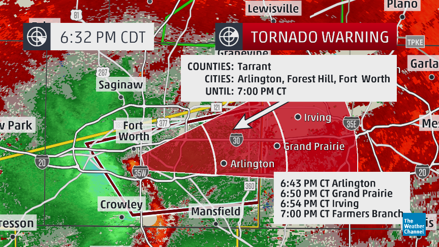 6:32pm CDT: #Tornado warning for southern Tarrant County incl Fort Worth, TX. Storm racing east toward Dallas County.