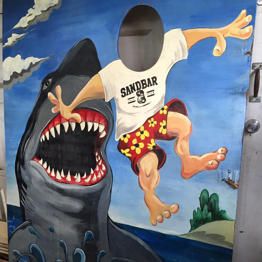 SHARK BOARD IS BACK! Full story on our blog later, but the board is safe. #Lawrence #lfk http://t.co/kaMGPk27Co