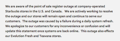 Starbucks confirms register outage at company-operated stores in the U.S. and Canada, says stores will remain open