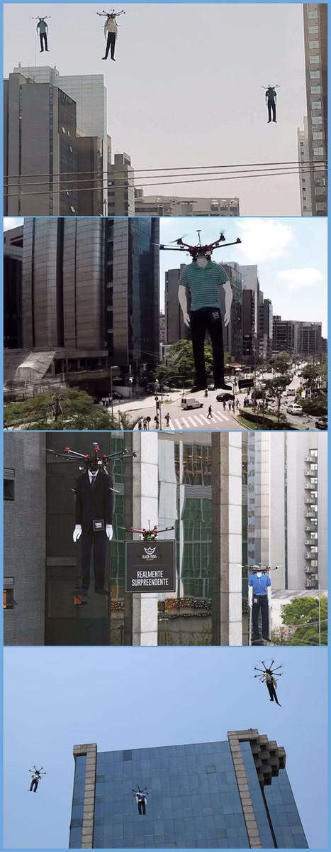 日本でも何かと厄介なことになっているドローン。遠く離れたブラジルのオフィス街では、ドローンに吊るされた首なしマネキンが空を飛んでるから。ちょっとしたSFホラーだから。 http://t.co/8VK3KCmkhk