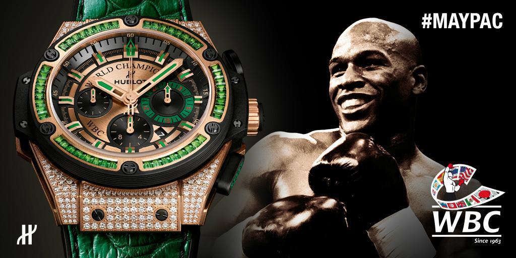 Are you ready for the #FightOfTheCentury tonight? #Hublot's Ambassador @FloydMayweather is! #MayPac #WBC #boxing #TBE http://t.co/0bRlILN6zT