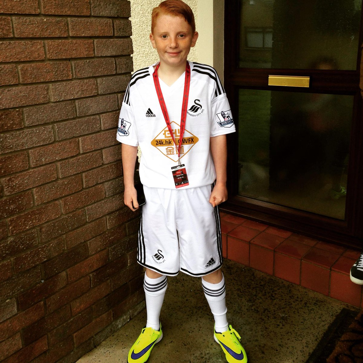 Today is the day! Josh is so excited to be mascot at Swansea v stoke today.  @leighdineen http://t.co/rT54AJ3PEX