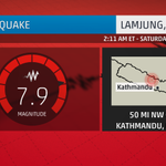 NEW: USGS upgrades #Nepal #earthquake to magnitude-7.9, damage reported. Earthquake centered 50mi NW of Kathmandu. http://t.co/50K3ZHum8P