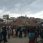 HAUNTING SIGHT in #Kathmandu Durbar Square, where it is no more. Perhaps emblematic of tragedy across Nepal today http://t.co/yJLU0VDZtU