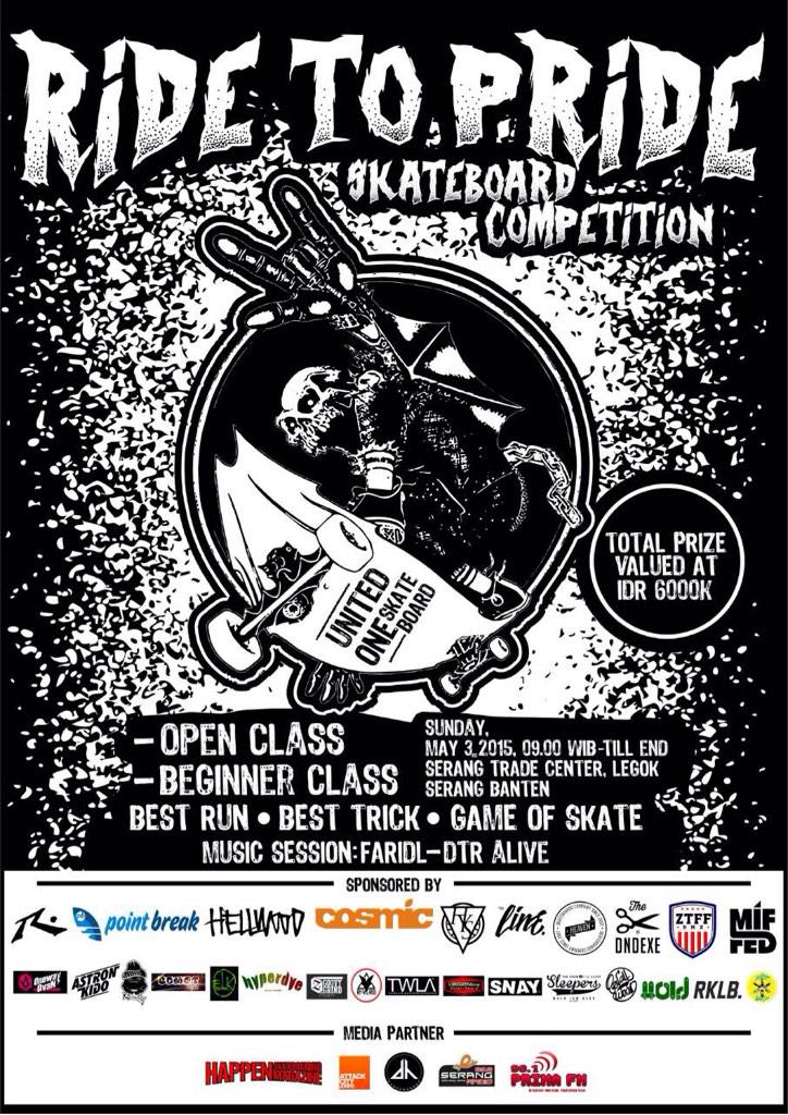 Ride To Pride Skateboard Competition. With total prize valued at Rp. 6.000.000,-- #RideToPride #Sk8Comp http://t.co/aDouF0NtzY