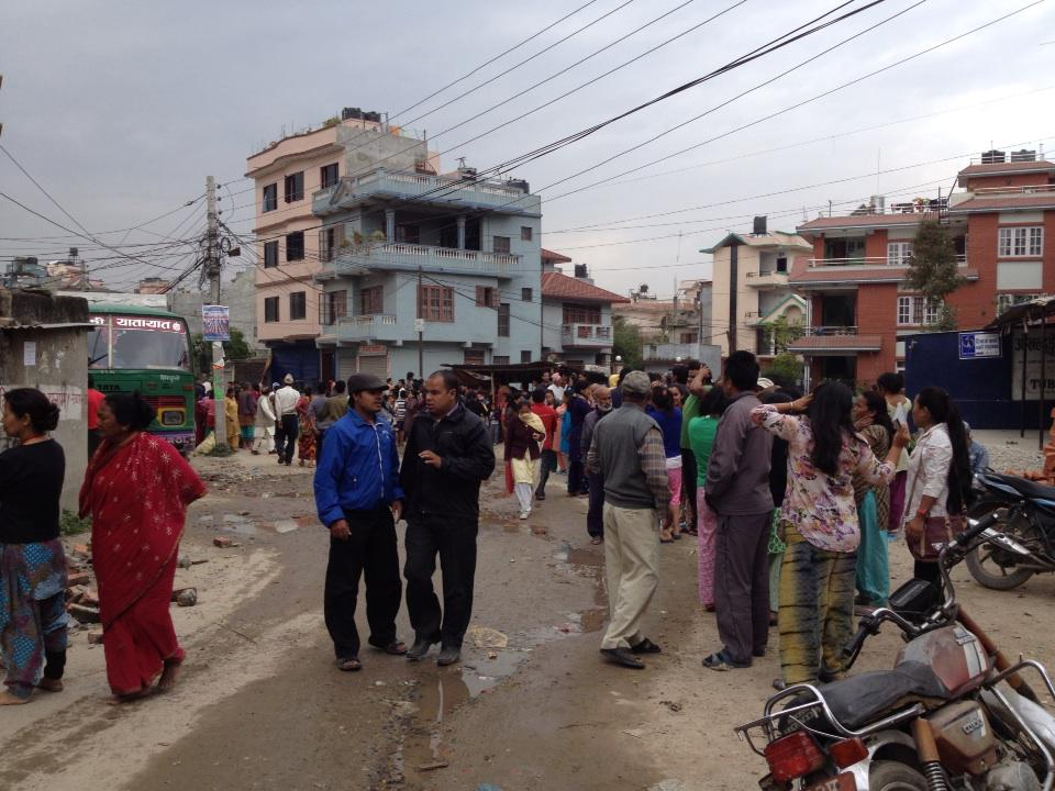 People are in open space due to fear. #earthquake #Nepal http://t.co/9gzL9HvPeg