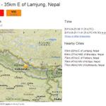 Nepal Earth-Quake .. M 7.5 DEPTH - 11.9 KM LOCATION - 35 km E of Lamjung, Nepal http://t.co/uEANf2hfPr http://t.co/wf0tAKYqf2