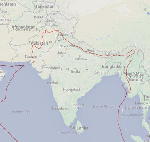 This is the fault line across India/Nepal and Pakistan #earthquake http://t.co/ixfd94UPdg