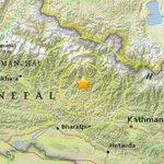 Magnitude-7.5 earthquake hits Nepal less than 50 miles from the capital of Katmandu http://t.co/tSNrgm7QiG http://t.co/YdemRDwBCN