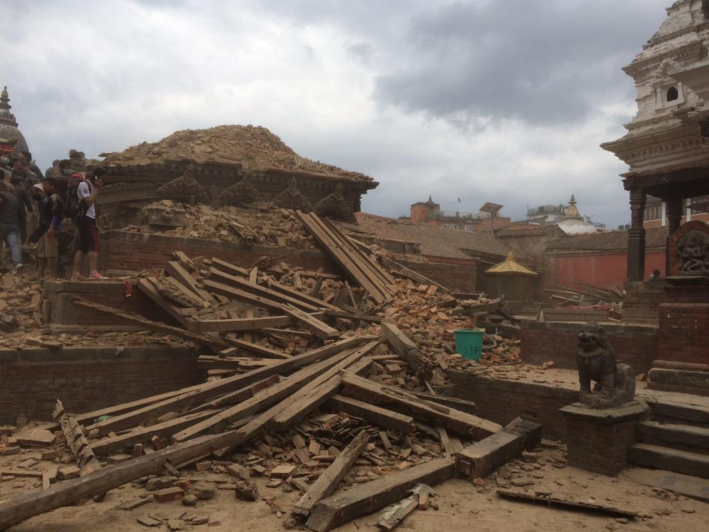 Kathmandu patan district. Old royal square devastated. http://t.co/Fq0CSRgeGM