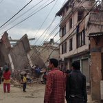 Photos posted online show heavy damage in Kathmandu, Nepal, after 7.9 strong quake http://t.co/FP1XC3Iyde v/ @gunaraj http://t.co/rakZQXINmw