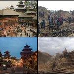 Muy triste. Antes y después del terremoto en Nepal. La plaza Durbar de Patan, Patrimonio de la Humanidad de la UNESCO http://t.co/T2ELmLvZVK