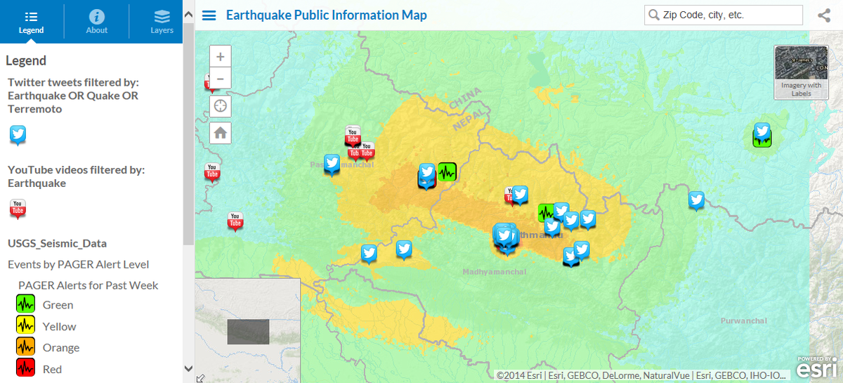 Our heart goes out to those affected - monitor the #NepalEarthquake via this @Esri Live Map: http://t.co/RZeUGVYZiH http://t.co/jOeNaFcbzu