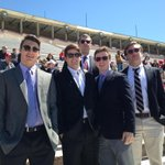 Cornell Football players supporting @CornellLacrosse against Princeton in business attire from Career Weekend http://t.co/55cHwG8Tcg