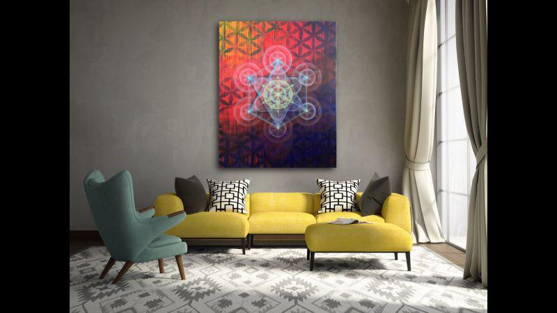 This Red Flower of Life painting will be on display at our Open House this weekend:  #SacredGeometry #AbstractArt http://t.co/jPRPI4vBtm
