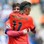#EspanyolFCB ¡Descanso en el Power8Stadium! Espanyol, 0 - Barça, 2 (Neymar y Messi) #FCBlive http://t.co/RAvelKltdM