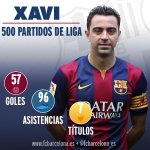 Xavi Hernández celebra 500 partidos de Liga con la camiseta del Barça #FCBlive http://t.co/OomMUOVPTZ