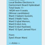 #MQM has secured majority in Hyderabad Cantonment Board by winning 6 out of 10 seats. #PeopleTrustMQM http://t.co/nVpSBvLPhQ