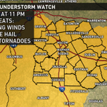 Severe T-Storm WATCH out for all of Central Georgia until 11PM. Means conditions favorable for severe storms #gawx http://t.co/0h6AmThWxI