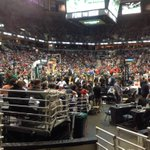 Our vantage point for the game. Very, very red crowd. 50/50 might be generous to #Bucks fans. http://t.co/Fzb1Pllk23